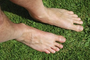 Pair of feet on grass