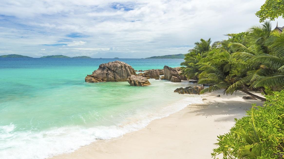 Anse Patates - tropical beach on island La Digue, Seychelles
