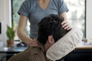 Man Getting Chair Massage