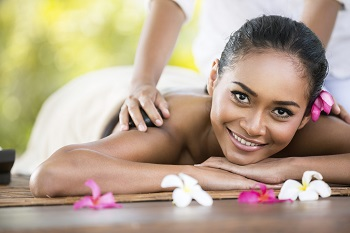Beauty woman getting relaxation in spa salon